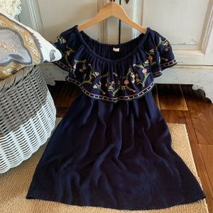 Off the Shoulder Navy Tunic Blouse w/ Embroidery